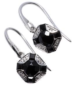 Sale 9213 - Lot 400 - A PAIR OF DECO STYLE ONYX AND DIAMOND EARRINGS; featuring round and carre cut onyx adjacent to round brilliant cut diamond, to sheph...