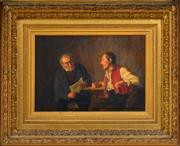 Sale 8316 - Lot 576 - Alphons Spring (1843 - 1908) - Reading the News 25 x 36cm