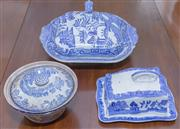 Sale 8346A - Lot 28 - Three pieces of blue and white serving wares including a square form lidded tureen in Willow pattern, a cheese dish and cover, and a...