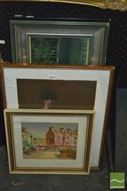 Sale 8425T - Lot 2060 - Group of (3) Artworks by Various Artists Including: Creek Scene, acrylic on board, Female Nude, pastel on paper & Street Scene, Terr...