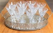 Sale 8489A - Lot 70 - A quantity of crystal stemmed glassware, mainly Waterford, some chips, together with a shaped oval EP tray L 54cm, and an oval mirro...