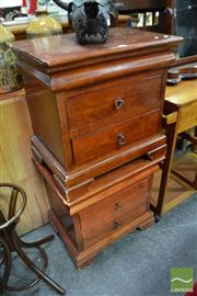 Sale 8489 - Lot 1067 - Pair of Timber Bedsides with Two Drawers