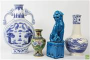 Sale 8586 - Lot 72 - Blue Dog Of Foo Together With Other Chinese Ceramics And Cloisonne Vase