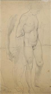 Sale 8692 - Lot 575 - William Dobell (1899 - 1970) - Standing Nude (Sketch) 52 x 27.5cm