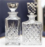 Sale 8709 - Lot 1028 - Two glass decanters and stoppers with diaper pattern design, Height of taller 25cm
