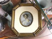 Sale 8730B - Lot 62 - Hand Painted Miniature in Brass Frame L: 14.5cm