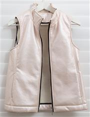 Sale 8902H - Lot 156 - A Meredith & Moore pink pearlescent vest with central zip and faux sheep lining, size S