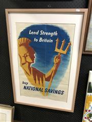 Sale 8903 - Lot 2090 - Framed Lend Strength to Britain, buy National Savings Print