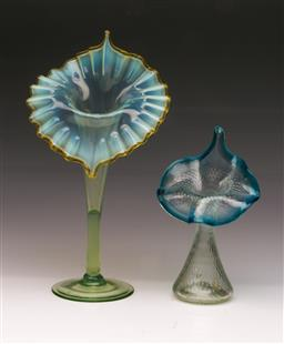 Sale 9107 - Lot 6 - Art glass epergne shaped vases (2) (H 28cm and 18cm)