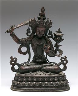 Sale 9138 - Lot 19 - A Bronze Figure of A Seated Tara (H:34cm)