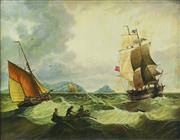 Sale 8901 - Lot 557 - C.K. Willens (C19th) - Seascape 32.5 x 42 cm