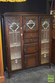 Sale 8390 - Lot 1109 - Vintage Kitchen Cabinet with Leadlight Doors