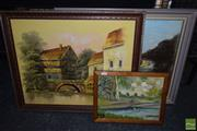 Sale 8497 - Lot 2080 - Group of (3) original paintings by M.Schmidt and another Unknown Artist, Australian Landscape and Countryscape scenes, framed and va...