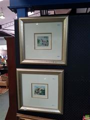 Sale 8619 - Lot 2001 - Diana Lane (2 works) - Paddington Terrace houses 9 x 10.5cm, each (frame size: 44 x 45cm, each)