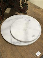 Sale 8795 - Lot 1055 - Two Round Marble Cheese Boards (30cm & 20cm)