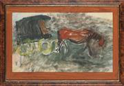 Sale 8833 - Lot 2029 - Elsa Mary Russell (1909 - 1997) - The Last Cab in Sydney, c1948 26 x 45cm