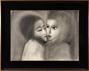 Sale 8855H - Lot 91 - Robert Dickerson (b. 1924), Two Heads, charcoal on paper on board, 56cm x 76cm, SLR