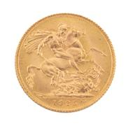 Sale 8855H - Lot 72 - 1925 gold Sovereign weight approx 7.95g