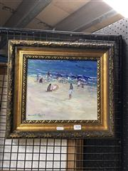 Sale 8856 - Lot 2038 - Donald Fraser - Beach Scene 21 x 25 cm