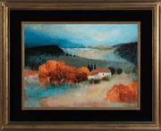 Sale 8908H - Lot 84 - PIERRE BISIAUX (b.1924) - Autumnal Landscape with Dwelling image size 53cm x 72cm in velvet and gilt frame
