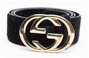 Sale 8926H - Lot 91 - A black suede Gucci belt with GG clasp, Size 90-36 total Length incl buckle 115cm