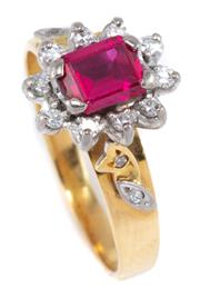 Sale 8937 - Lot 384 - AN 18CT GOLD DIAMOND AND GEMSET CLUSTER RING; centring an emerald cut synthetic ruby to diamond surround, size Q, wt. 4.63g.