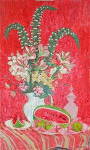 Sale 8992 - Lot 516 - Frederick Arthur Jessup (1920 - 2007) - Still Life With Watermelon, 1962 133 x 79.5 cm (total: 133 x 79.5 x 2 cm)