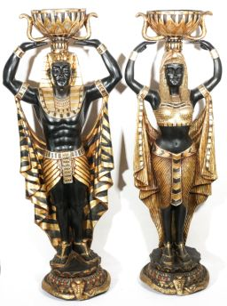 Sale 9093P - Lot 4 - Pair of Decorative Egyptian Themed Black and Gold Resin Figures with Bowls Raised h. 135cm.