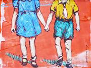 Sale 8309A - Lot 80 - David Bromley (1960 - ) - Holding Hands 21 x 28cm