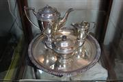 Sale 8327 - Lot 87 - Silver Plated Tea Service on a Plated Tray