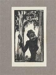 Sale 8475A - Lot 5055 - Lionel Lindsay ( (1874 - 1961) (3 works) - Bookplates for John Bryant; J.E. Tyrrell; Untitled (Emu) 7 x 5.5cm; 6.5 x 3.5cm; 5 x 7cm