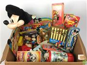 Sale 8559A - Lot 77 - The Wonderful World of Disney. Box of Vintage Disney Items Including Mickey Hat and Toys.