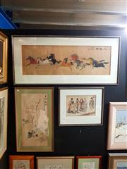 Sale 8671 - Lot 2013 - Group of (3) Chinese Watercolours - Wild Horses; Scholars; Still Life - Flowers (framed/various sizes)