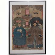 Sale 8732W - Lot 33 - Qing Dynasty Six Person Generational Ancestor Portrait ( Frame Size 108cm x 173cm)