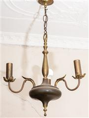 Sale 8804A - Lot 140 - A brass ceiling light with turned stem and three branches, Height 76cm