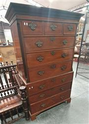 Sale 8848 - Lot 1003A - George III Mahogany Chest on Chest, with three short and six long drawers, flanked by cantered and reeded corners