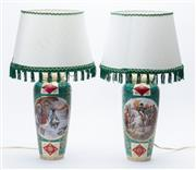 Sale 8873A - Lot 32 - A pair of Bohemian porcelain vases mounted as lamps with scene from Napoleons life, incl the battle of Friedland and before Moscow...