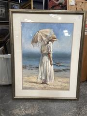 Sale 9091 - Lot 2089 - Susan Sommer The Sand, The Sea & Me, oil on canvas, frame: 98 x 78 cm, signed and dated lower right