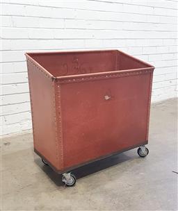 Sale 9134 - Lot 1015 - Leather industrial waste bin on castors (h:73 x w:72 x d:37cm)