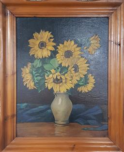 Sale 9155 - Lot 2048 - Artist Unknown Still Life -Sunflowers & Cloth, oil on canvas on board, frame: 56 x 46 cm, initialled lower right -