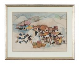 Sale 9245J - Lot 85 - Dorothy Braund - Figures at Beach signed lower right