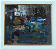 Sale 8316 - Lot 598 - Ingrid Haydon (XX) - Night Wharf, 1994 60.5 x 71cm
