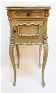 Sale 8362A - Lot 27 - A vintage French painted bed side cabinet with thick marble top, size 91 x 40 x 40 cm
