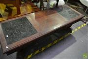 Sale 8472 - Lot 1096 - Marble Top Timber Coffee Table;