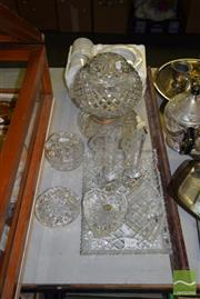 Sale 8509 - Lot 2240 - Crystal Lamp & Crystal Wares incl Trinket Box, Vases, etc plus a Marble Smokers Set