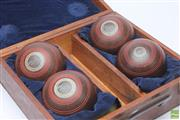 Sale 8644 - Lot 56 - Timber Cased Set of Four Lawn Bowls