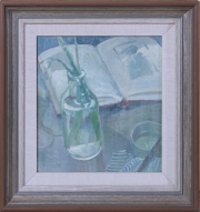 Sale 8677B - Lot 539 - Glenn Preiss, Still life with vase and sketch book, oil on board, signed lower left, Artarmon gallery label verso, 28cm x 25cm