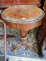 Sale 8728 - Lot 1094 - Victorian Carved & Burr Veneered Sewing Table, with compartmented interior, on faceted pedestal & outswept legs (Peter to See)