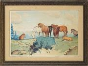Sale 8838A - Lot 5016 - Allen William Seaby (1867 - 1953) - Untitled (Horses) 21.5 x 32cm