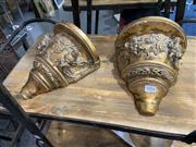 Sale 8876 - Lot 1016 - Pair of Gilt Wall Sconces with Cherub Motifs
